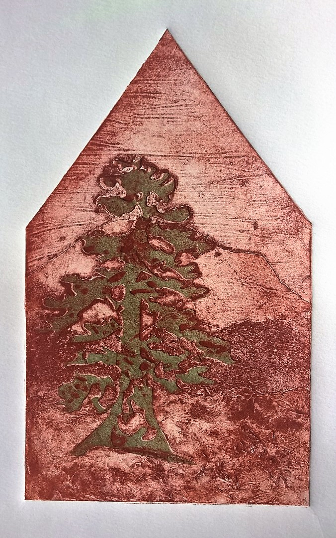 Evelyn Hirata, Pine and Mountain, collagraph