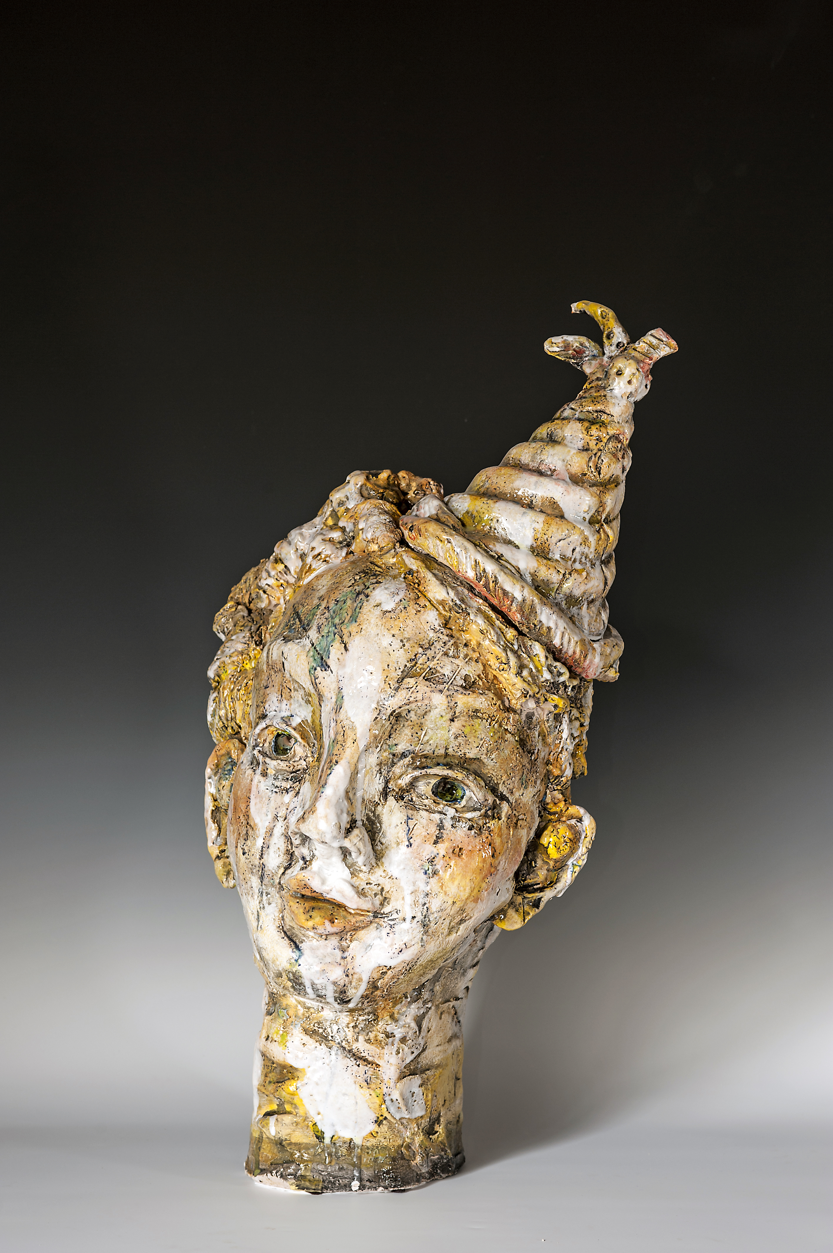Donna Porter, Yellow Party, clay with multiple glazes and firings