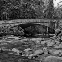 Eduardo Calderón, Raging River Bridge, Large format photograph