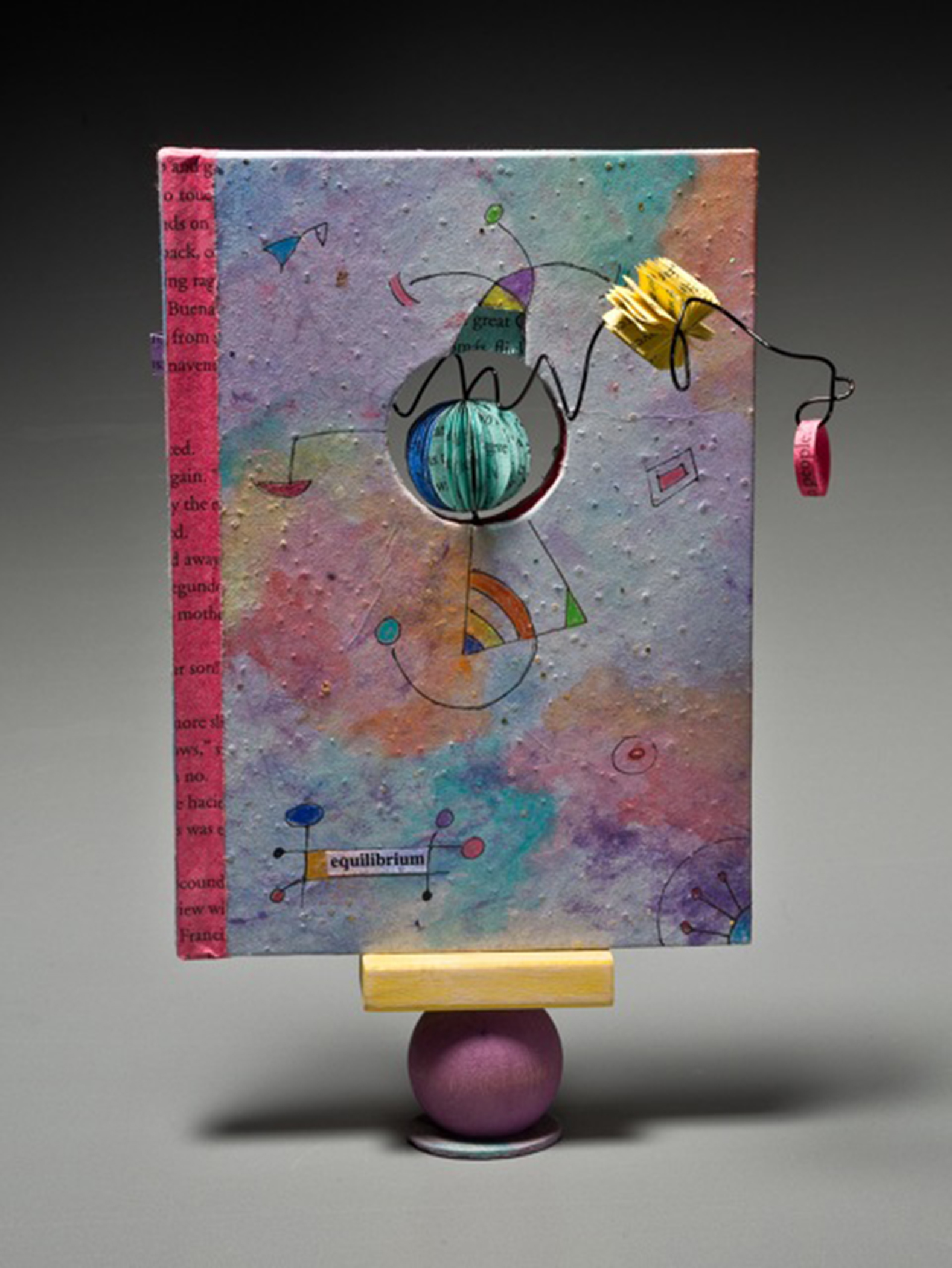 Jean-Marie Tarascio, The Art of Hanging in the Balance, Altered discarded book, acrylics, wood
